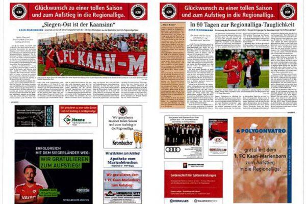 Sonderseiten zum Aufstieg des 1. FC Kaan-Marienborn